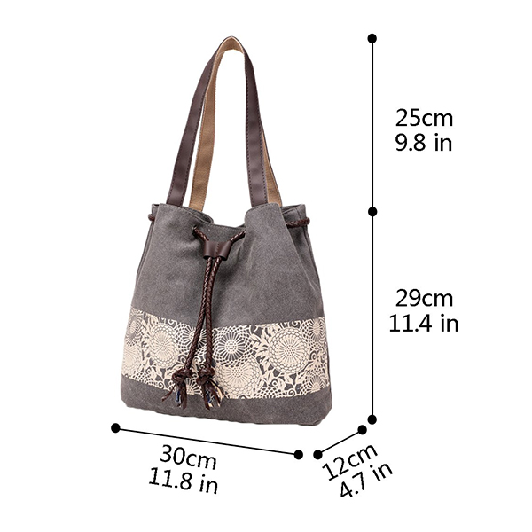 Strapped Canvas Large Space Shoulder Bags - Brown