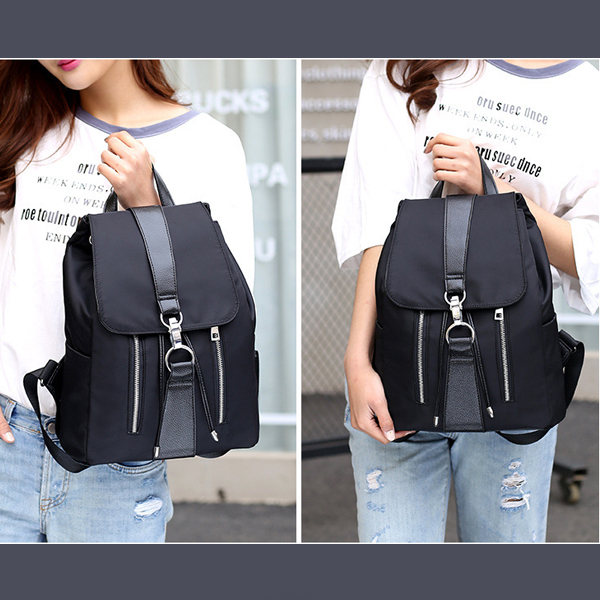 Two Pieces Canvas Backpack With Wristlet - Black