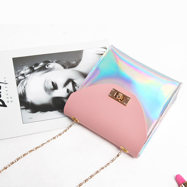 Holographic Contrast Clutch Closure Messenger Bags