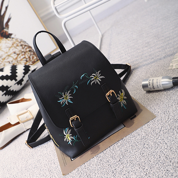 Thread Art Buckle Style Women Backpacks - Black