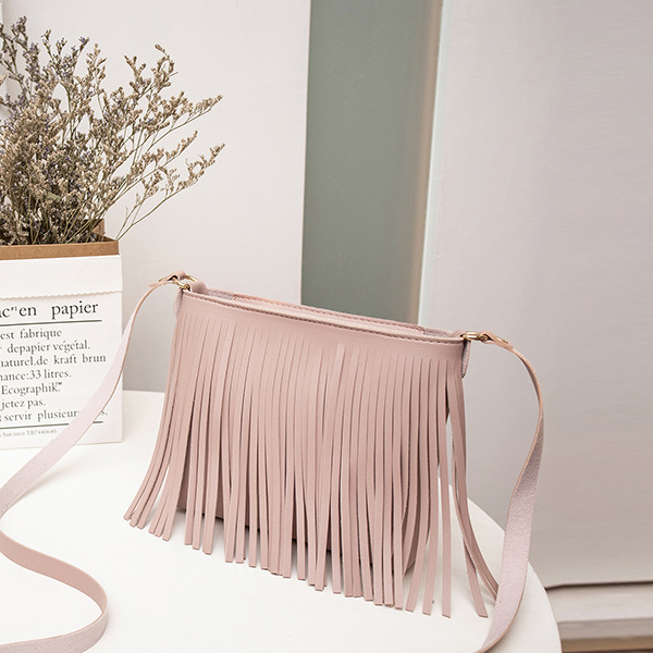 Decorated Tassel PU Leather Messenger Bags - Pink