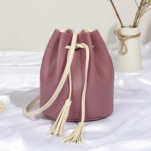 Drawstring PU Leather Tassel Bucket Bags - Pink