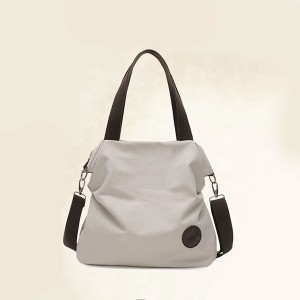 Strapped Canvas Large Space Shoulder Bags - White