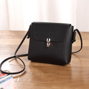 Square Shape Plain PU Messenger Bags - Black