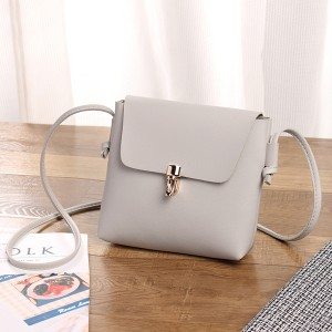 Square Shape Plain PU Messenger Bags - Grey
