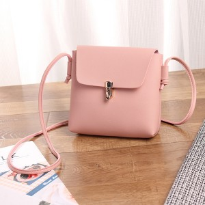 Square Shape Plain PU Messenger Bags - Pink
