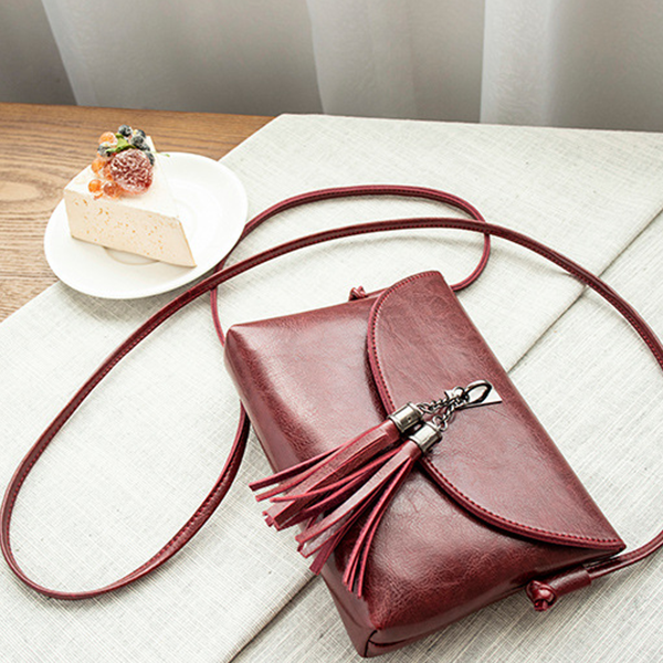 Double Tassel Leather Messenger Bags - Burgundy
