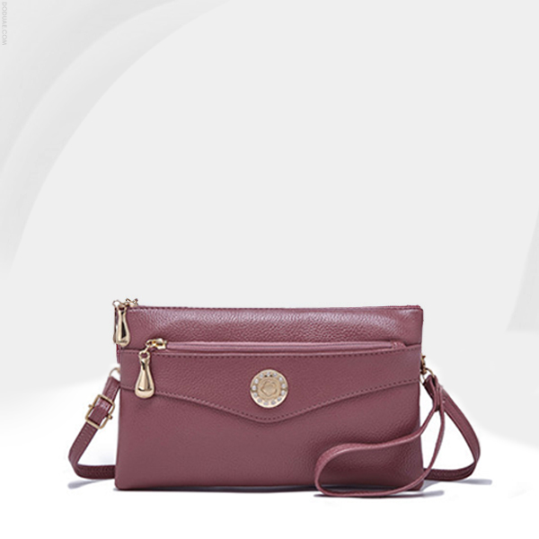 Double Zipper Synthetic Leather Messenger Bags - Pink