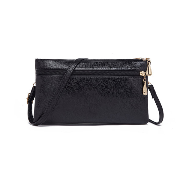 Double Zipper Synthetic Leather Messenger Bags - Black