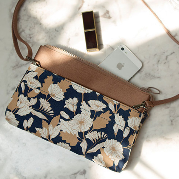 Printed Strapped Mini Messenger Bags - Floral