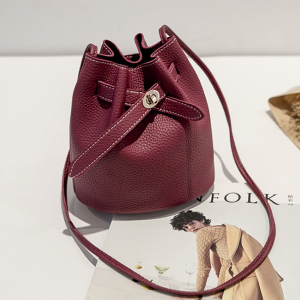 Drawstring PU Bucket Bags - Burgundy