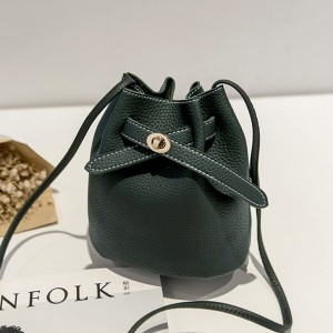 Drawstring PU Bucket Bags - Green