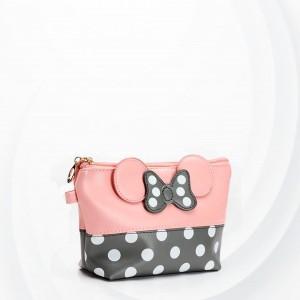 Polka Dots Micky Synthetic Leather Wristlet - Pink