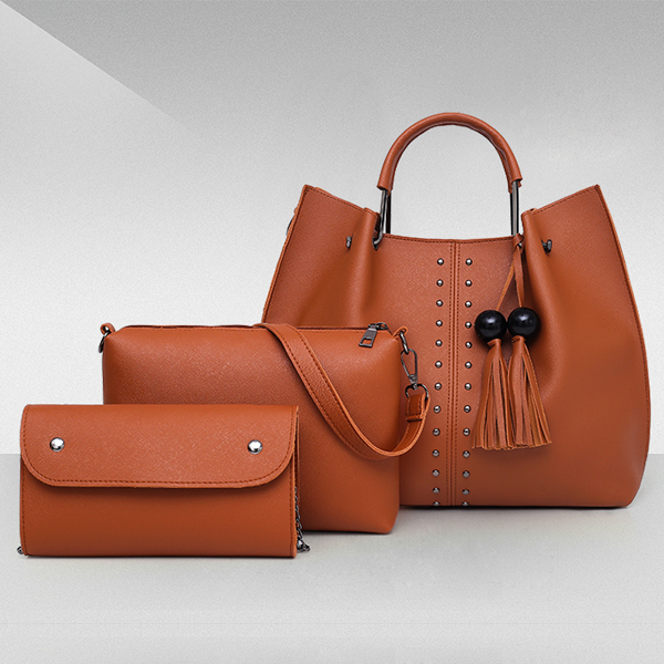 Solid Tassel Hanging PU Leather Handbags Set - Brown