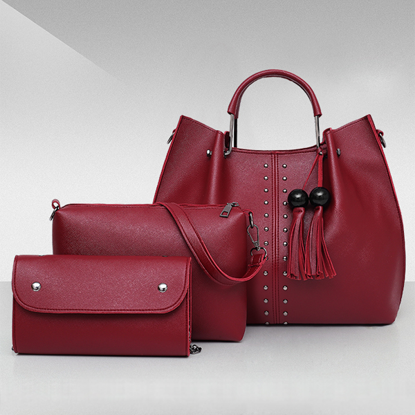 Solid Tassel Hanging PU Leather Handbags Set - Burgundy