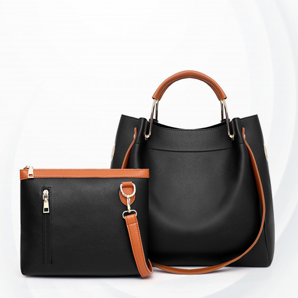 Two Pieces High Quality PU Leather Handbags Set - Black
