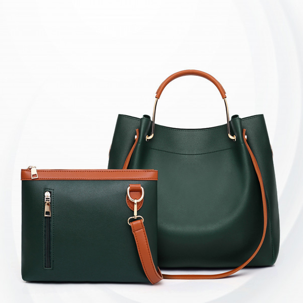 Two Pieces High Quality PU Leather Handbags Set - Green