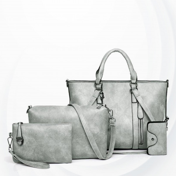 Four Pieces Shiny Formal Office Handbags Set - Grey