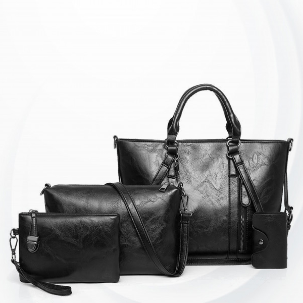 Four Pieces Shiny Formal Office Handbags Set - Black