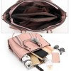 Four Pieces Shiny Formal Office Handbags Set - Brown