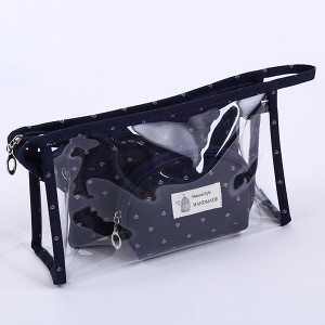 Transparent PVC Three Pieces Multipurpose Bag - Dark Blue