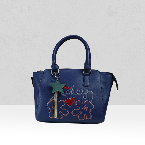 Mickey Embroidered Blue Quality Shoulder Bag