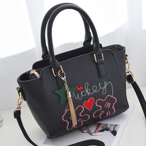 Mickey Embroidered White Quality Shoulder Bag
