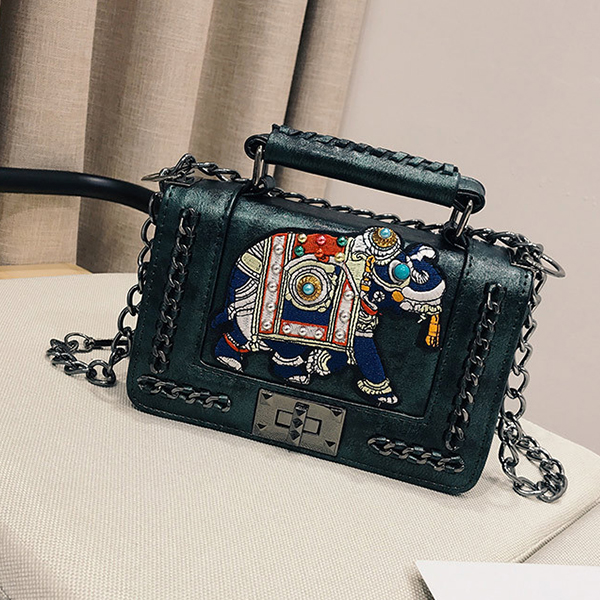Rivets Decorated Chain Strap Messenger Bags - Green