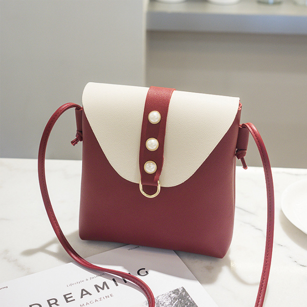 Pearl Decorated PU Leather Shoulder Bags
