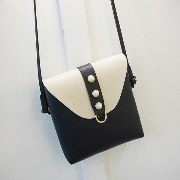 Pearl Decorated PU Leather Shoulder Bags - Black