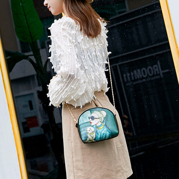 Chain Strappy Printed Lady Messenger Bags