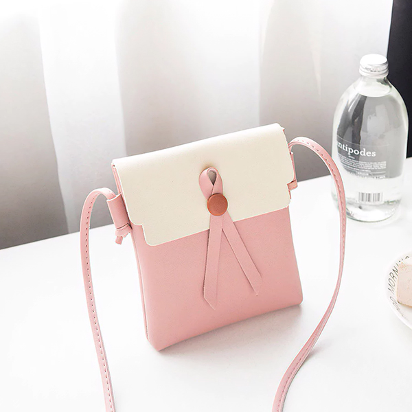 Button Up Synthetic Leather Shoulder Bags - Pink