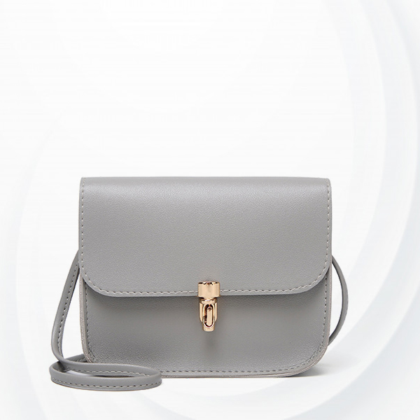 Bullet Lock Leather Texture String Messenger Bags - Grey