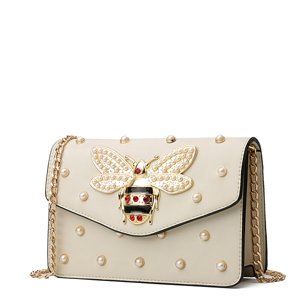 Pearl Decorated Caricature Off White Messenger Bag
