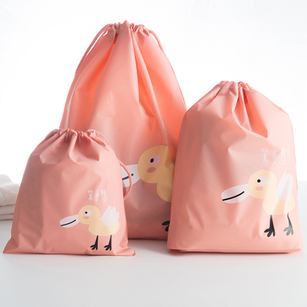 Three Printed Animal Traveller Storage Bags - Apricot