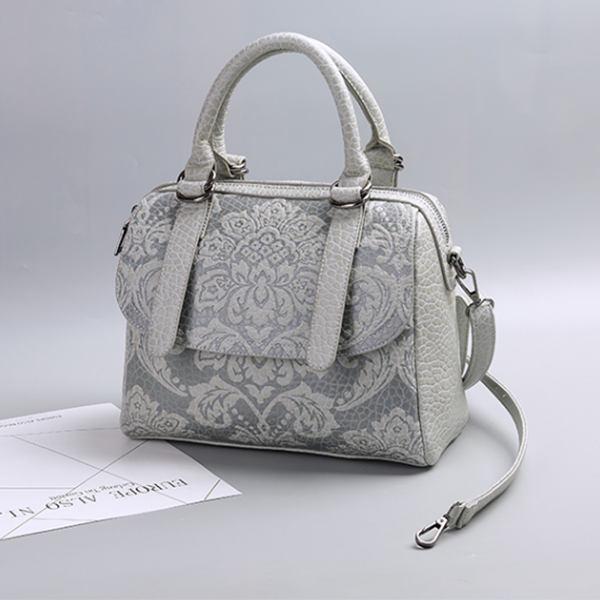 Embossed Fashion Handbag Leisure Shoulder Bag Light Gray