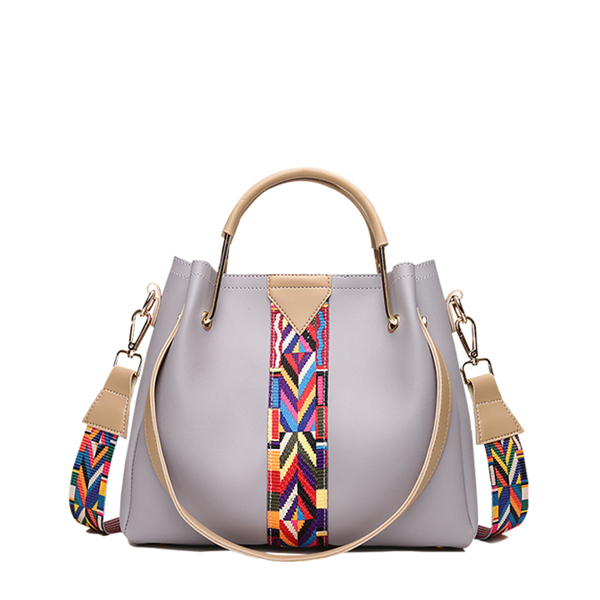 Bohemian Contrast Grey Shoulder Bag