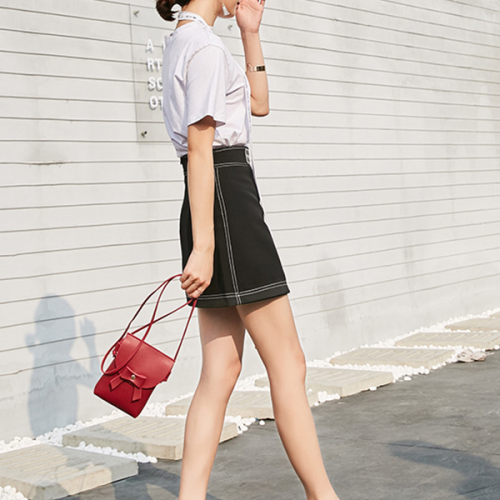 Bow Patched Leather Texture String Vertical Bags - Black