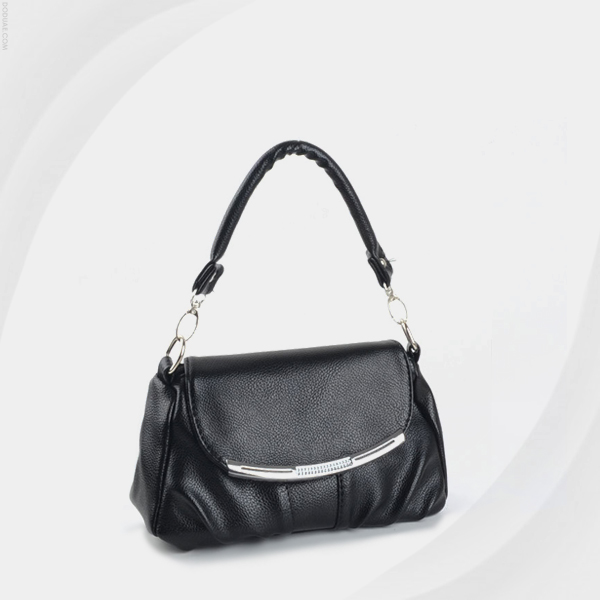 Synthetic Leather Magnetic Closure Messenger Bags - Black