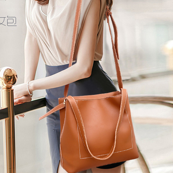 Designers Long Grey PU Shoulder Bag