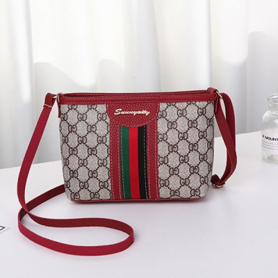 Striped Contrast Zipper Messenger Bags - Red