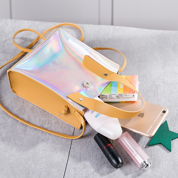 Holographic Star Hanging Shoulder Bags - Black