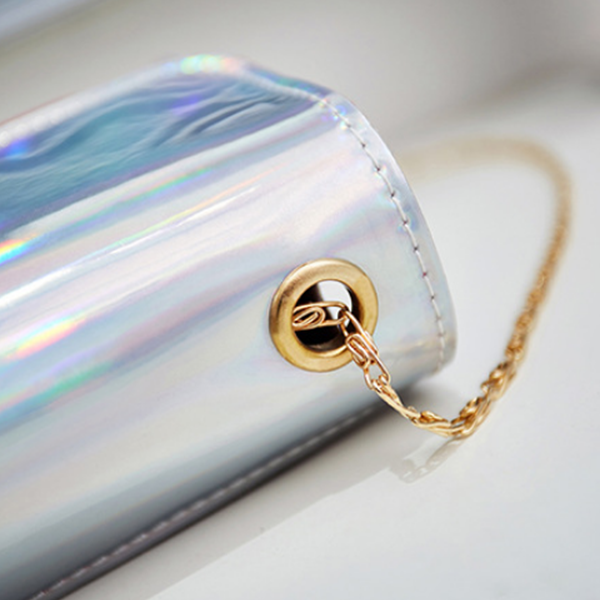 Holographic Golden Chain Strap Messenger Bags