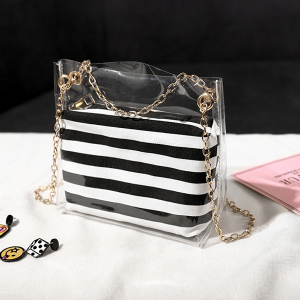 Chain Mini Transparent Jelly Bags - Striped