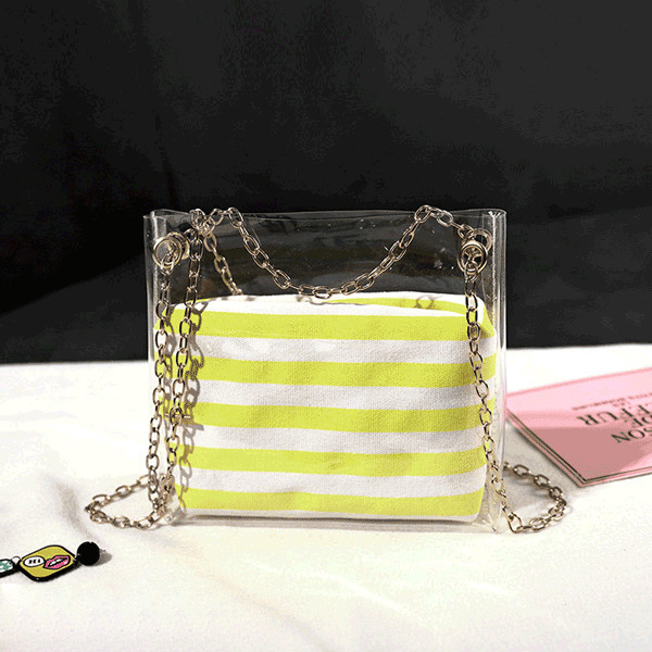 Chain Mini Transparent Striped Jelly Bags - Yellow