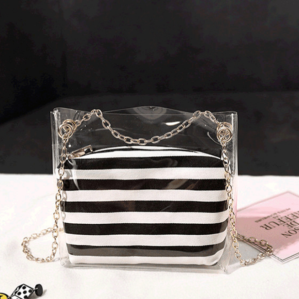 Chain Mini Transparent Striped Jelly Bags - Red