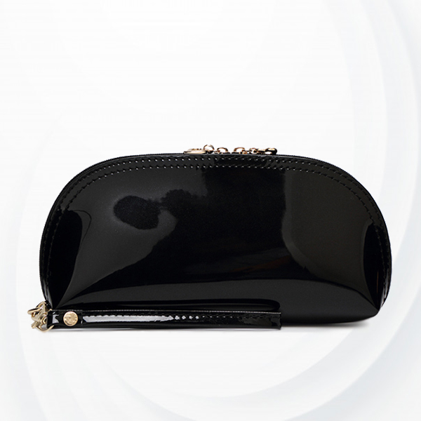 Heart Zipper Shiny Hand Purse - Black