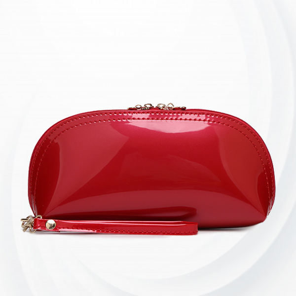 Heart Zipper Shiny Hand Purse - Red