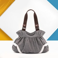 Trendy Canvas Flask Shape Ladies Casual Handbags - Gray