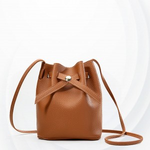 Drawstring Leather Texture Bucket Bags - Brown